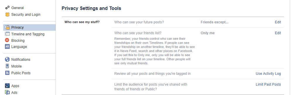 how to edit your privacy settings on FAcebook
