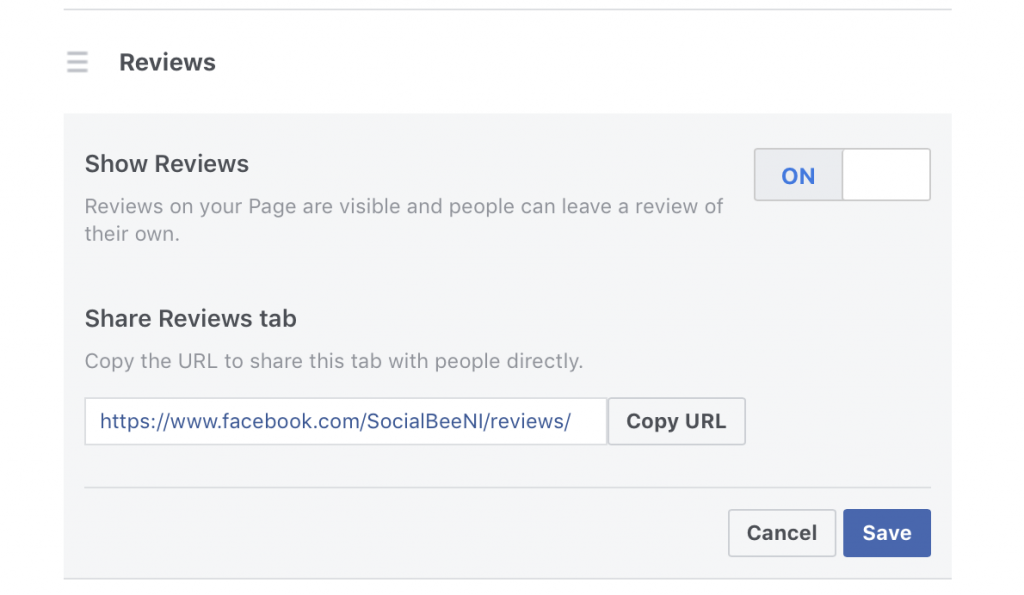 turn on the reviews tab on your facebook page
