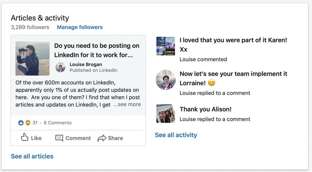 Linkedin Activity Box