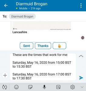 sending available dates and times for LinkedIn messages