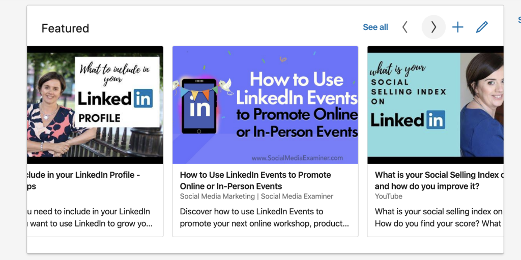 Featured section on LinkedIn personal profile