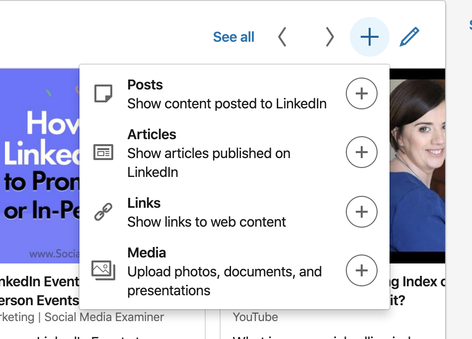 How to add to your Featured Section on LinkedIn personal profiles