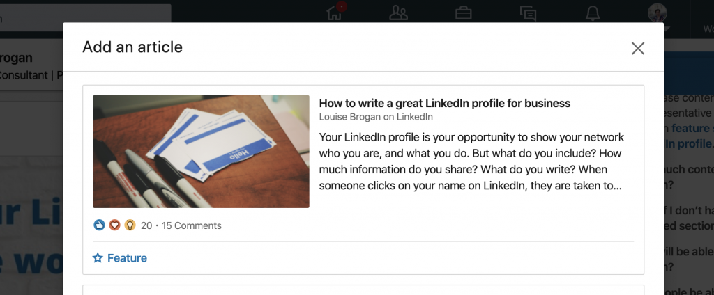 add an article to featured section on LinkedIn