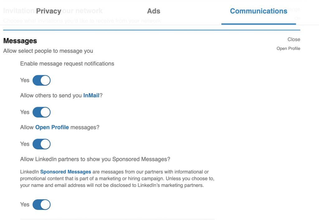 Messaging sttings on LinkedIn