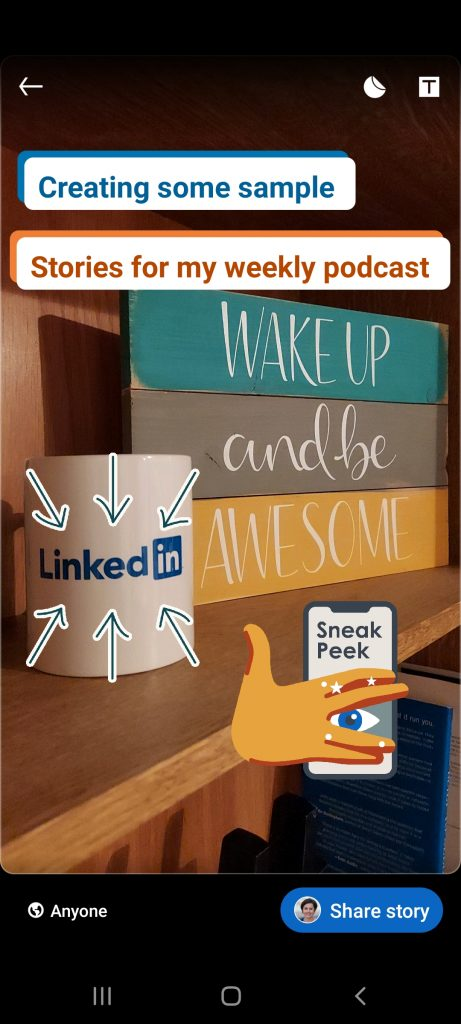 Add text and stickers to your LinkedIn Story